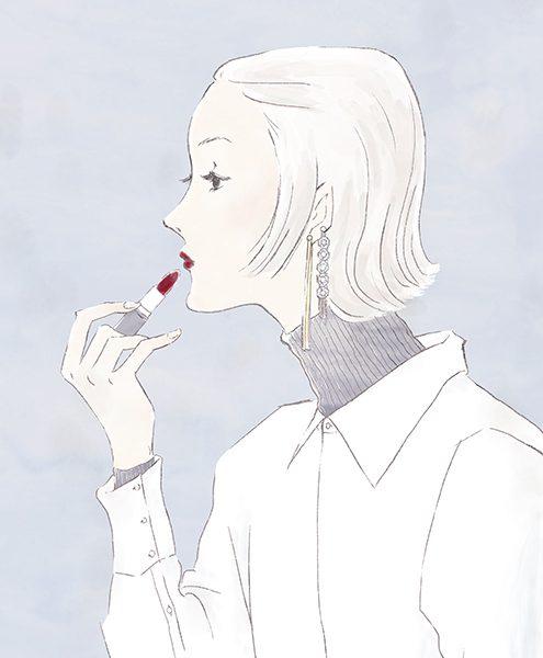 氷の女王〜リップを塗る女性