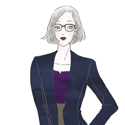 凛としたメガネの女性〜「ららぽーと」「ラゾーナ」のファッションWebマガジン『KIKONAS』で イラストを描かせていただきました。