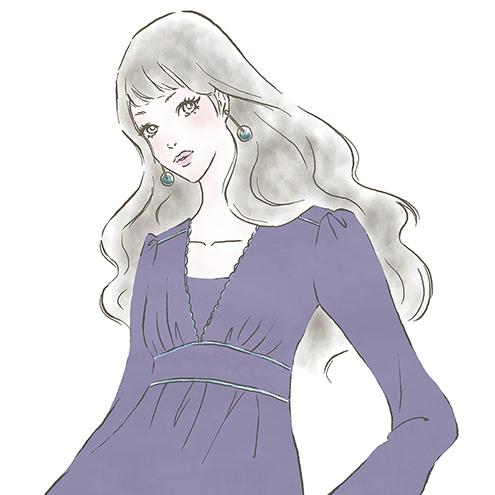 ワンピースの華やかな女性〜「ららぽーと」「ラゾーナ」のファッションWebマガジン『KIKONAS』で イラストを描かせていただきました