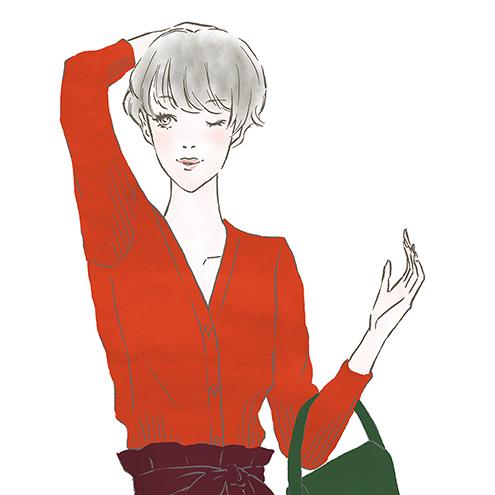 ウォームカラーの女性〜「ららぽーと」「ラゾーナ」のファッションWebマガジン『KIKONAS』で イラストを描かせていただきました