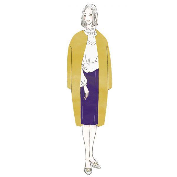 ノーカラーコートの女性〜三井不動産LaLaport&LAZONAのWEBマガジン「KIKONAS(キコナス)」でイラストを描かせていただきました