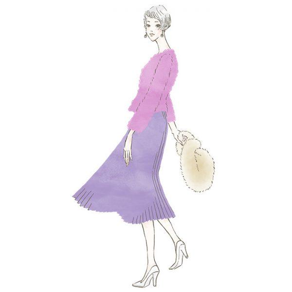 プリーツスカートの女性〜三井不動産LaLaport&LAZONAのWEBマガジン「KIKONAS(キコナス)」でイラストを描かせていただきました